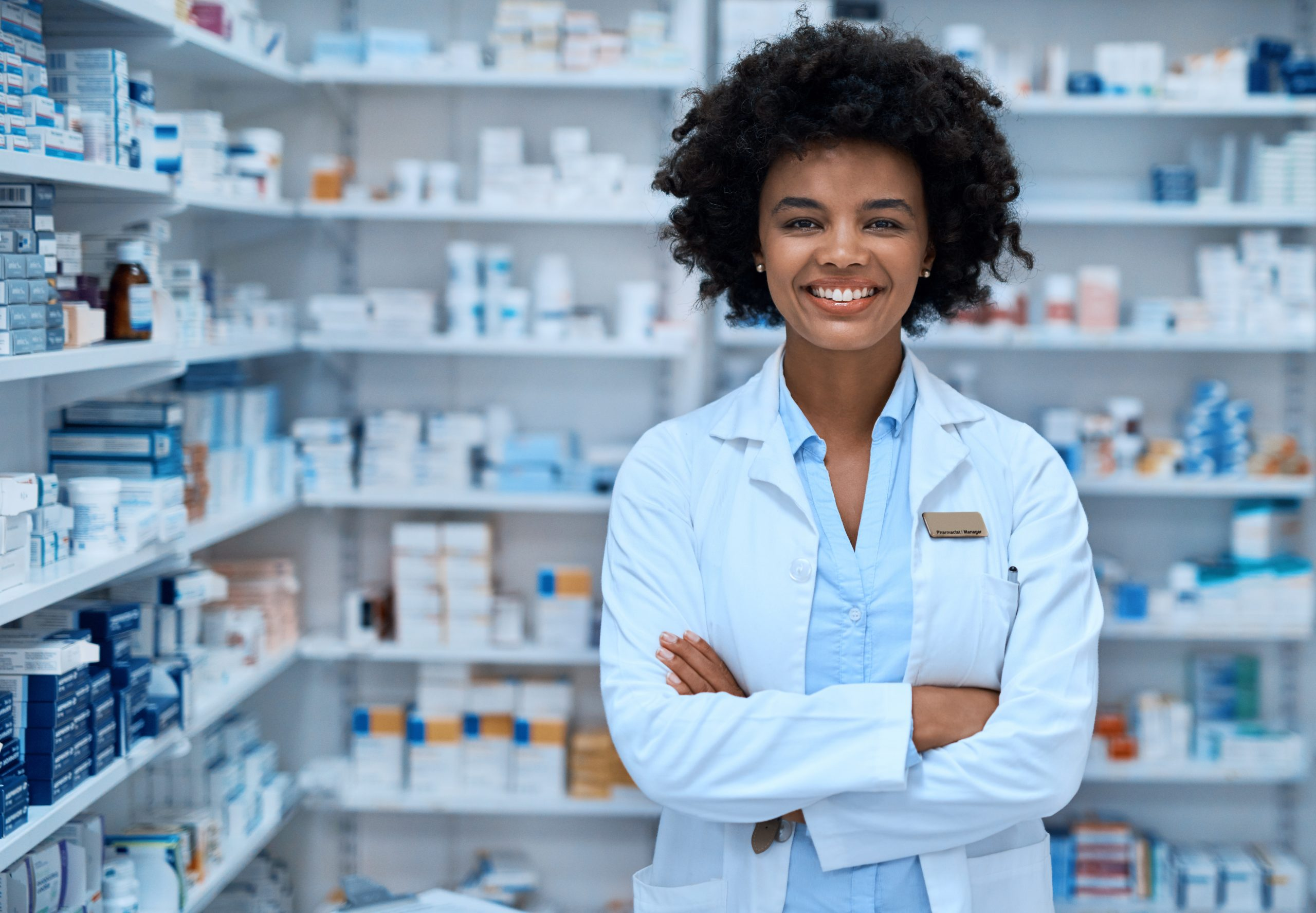 young woman in pharmacy