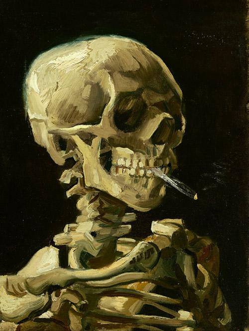 フィンセント・ファン・ゴッホ「火のついた煙草をくわえた骸骨」の絵