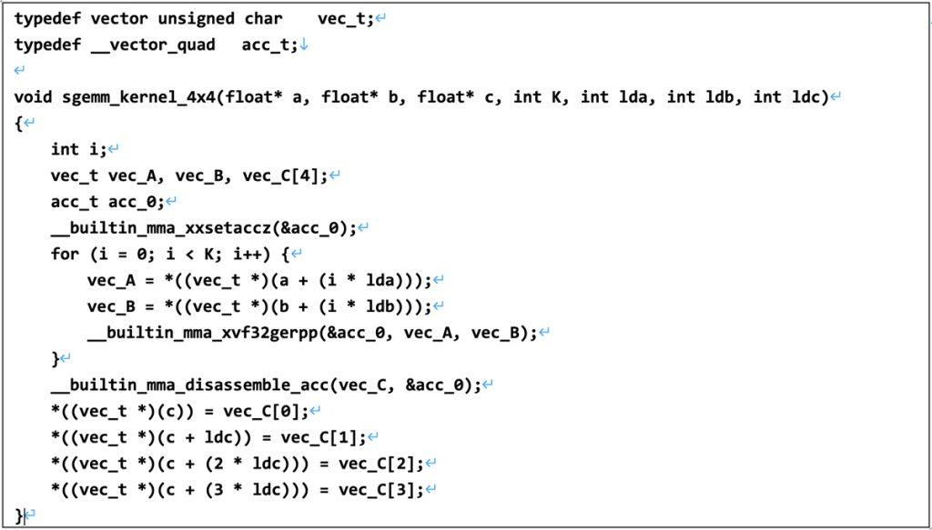 単精度4x4の行列積の記述例の図