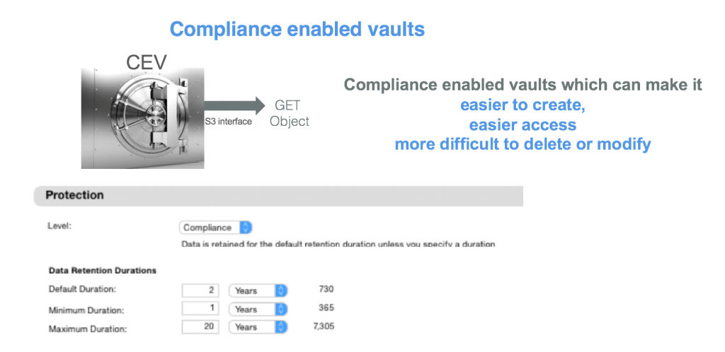 compliance enabled vaults, cloud object storage