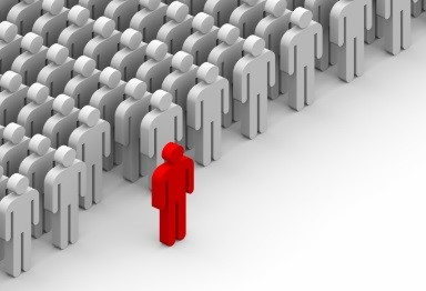 figure of a person standing out of the crowd, IBM ESS