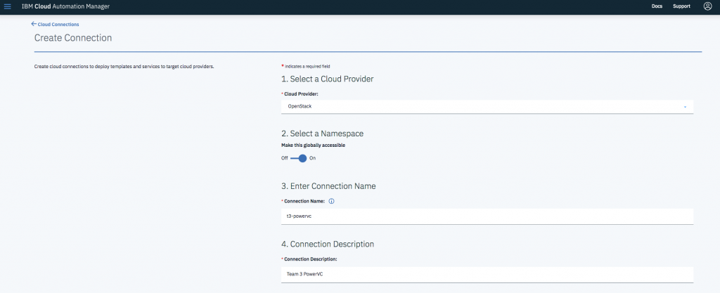 create a connection profile to use our on-premises private cloud