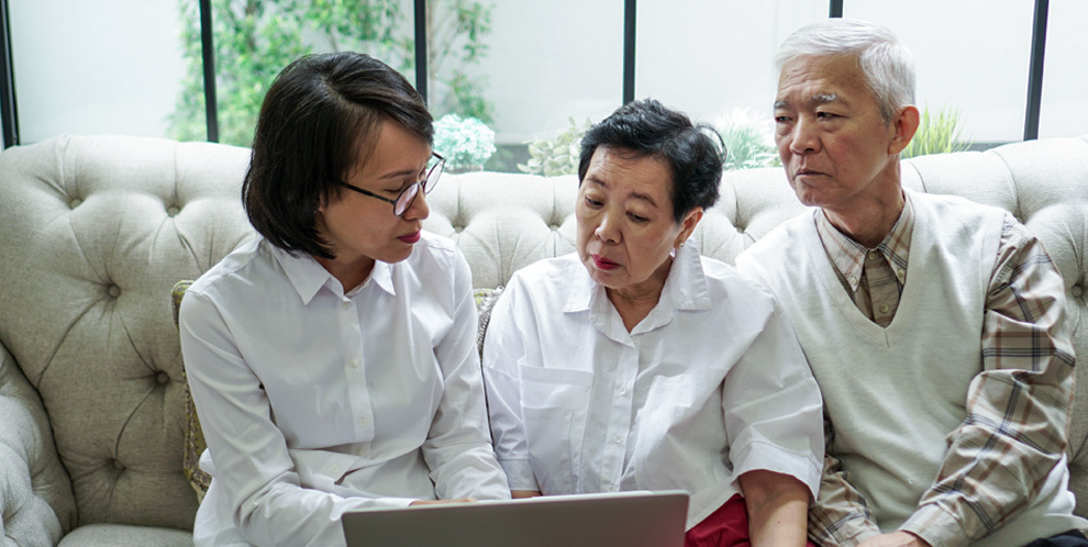 image of insurance agent with customers
