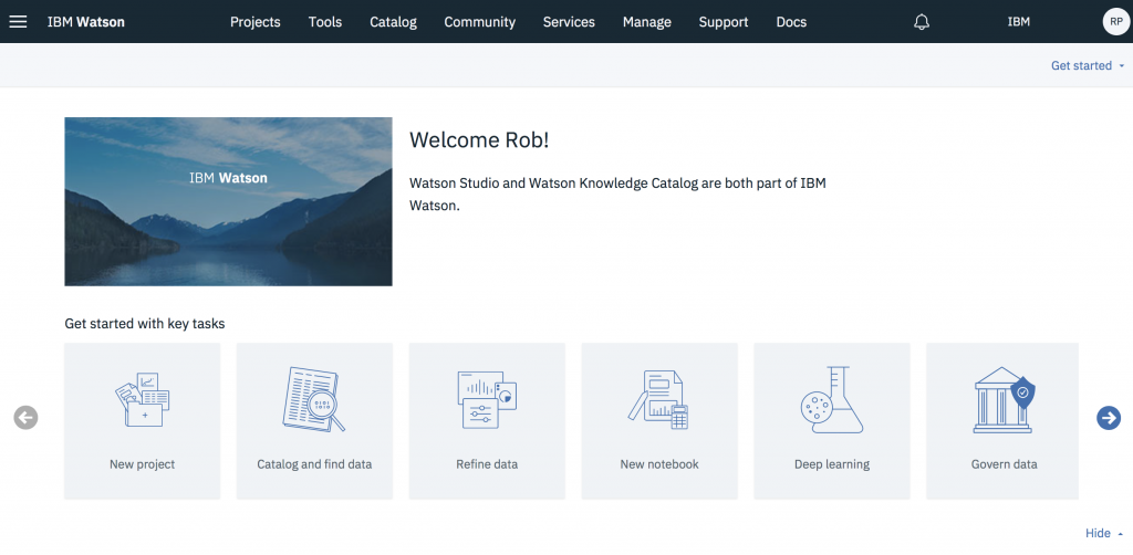 Watson Studio: all the tools for the data scientist in one place