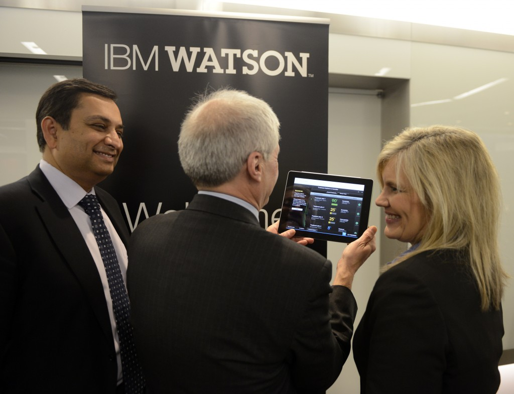 anoj Saxena, left, IBM General Manager, Watson Solutions, Mark Kris, MD, Chief of Thoracic Oncology, Memorial Sloan-Kettering Cancer Center, and Lori Beer, WellPoint's Executive Vice President of Specialty Businesses and Information Technology