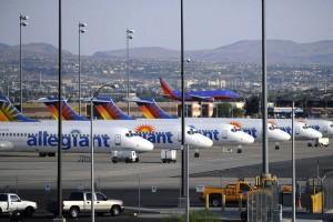 Allegiant aircraft on the tarmac in Las Vegas