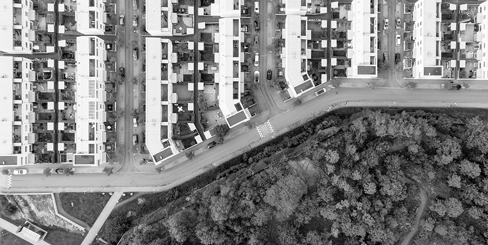 aerial view of houses adjacent to wooded area
