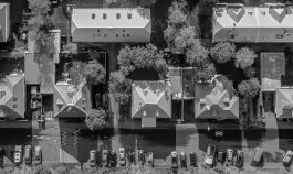 Overhead shot of a neighborhood during the COVID-19 pandemic.