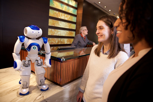 Connie the robot greeting guests