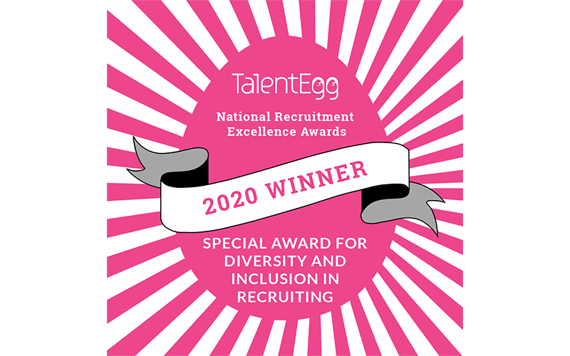 Talent Egg. National Recruitment Excellence Awards. 2020 Winner. Special award for diversity and inclusion recruiting.