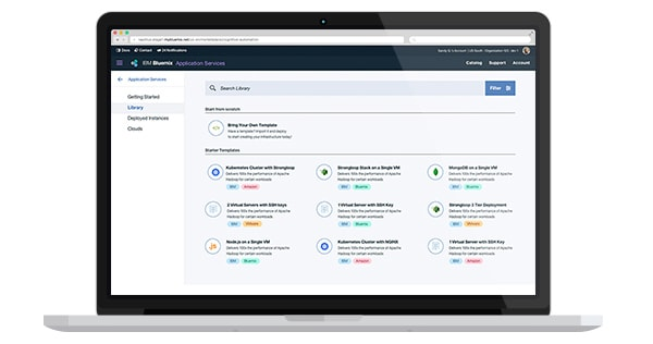 Zrzut ekranu interfejsu użytkownika IBM Cloud Automation Manager