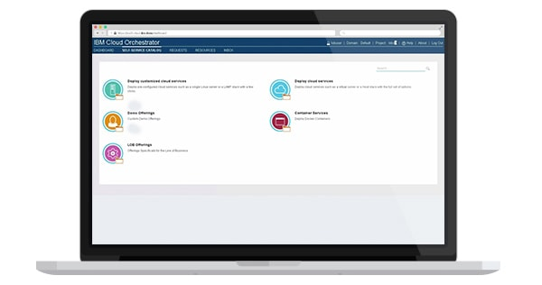 A screen capture of the IBM Cloud Orchestrator user interface