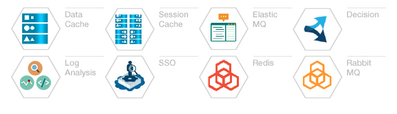 Data Cache. Session Cache. Elastic MQ. Decision. Log Analysis. SSO. Redis. Rabbit MQ