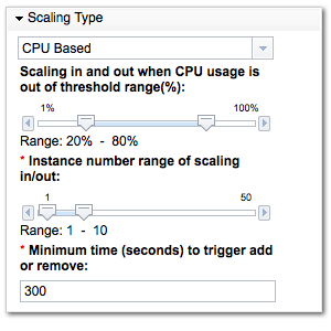 SCAWS Scaling settings
