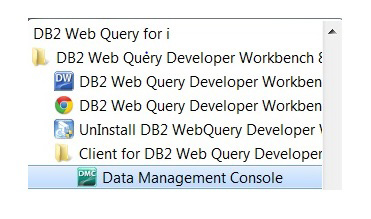 Web Query Server Data Management Console Launch