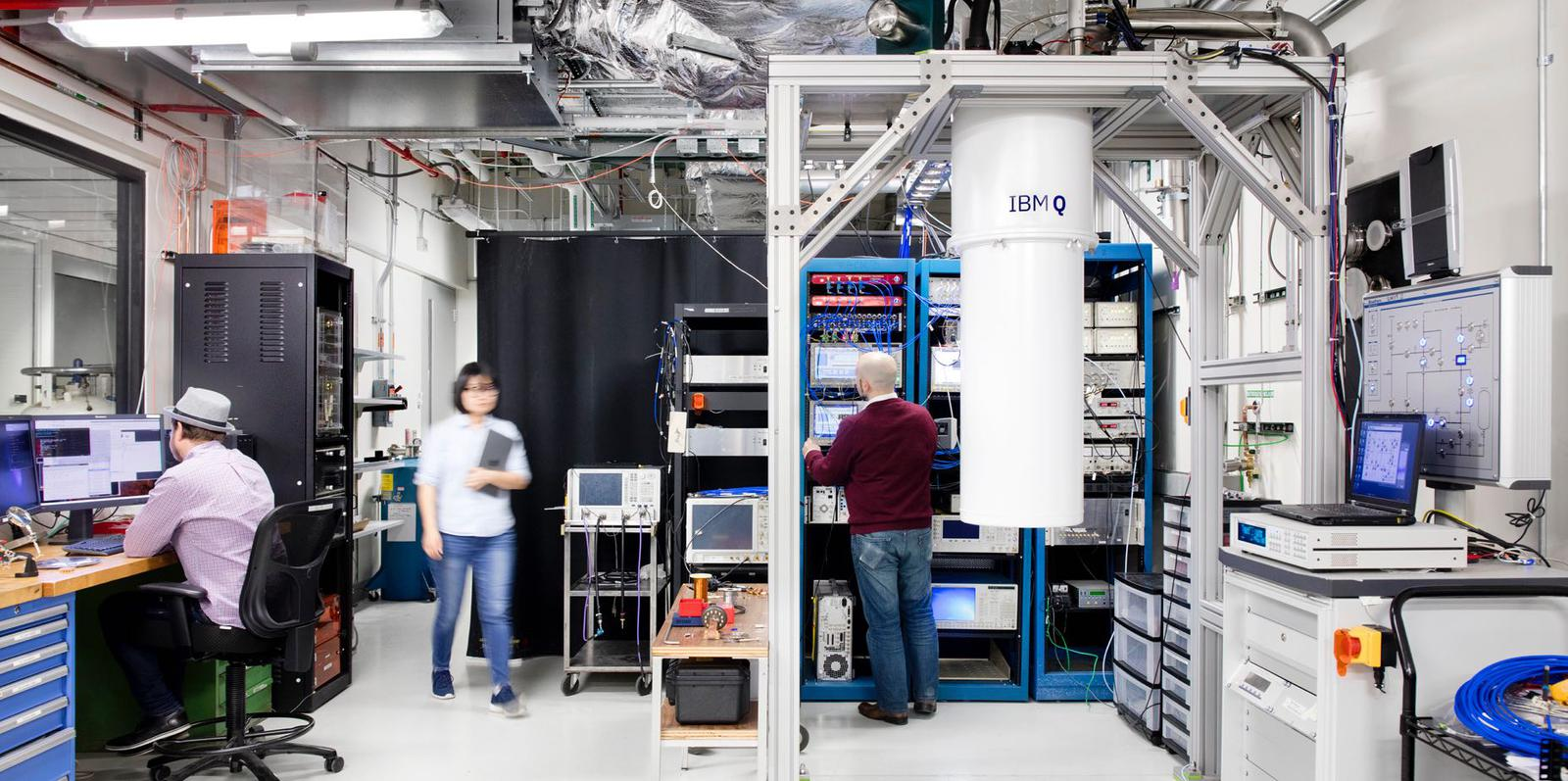 IBM Q team working in the lab to create the Q System One.