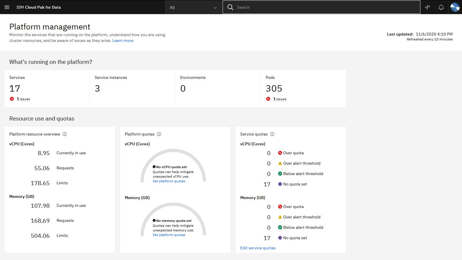 The Platform management page