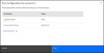 Run configuration pane for scenario 1