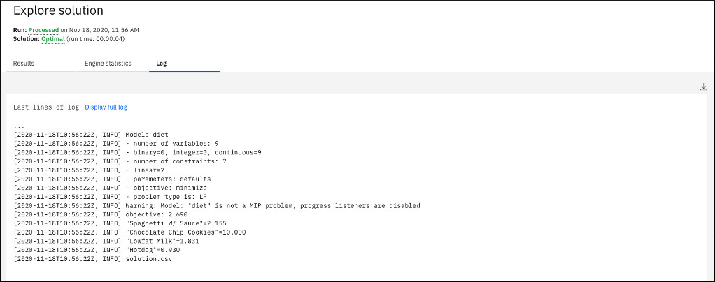 Engine log tab showing log for diet model