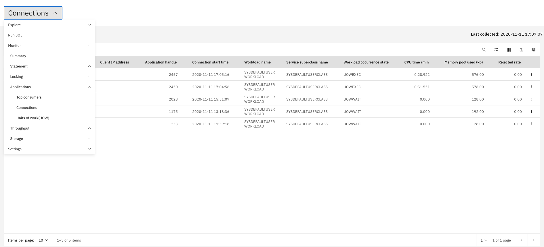 Screen capture of a page from the Db2 Data Management Console showing a list of connections to the Db2 Big SQL service