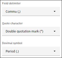 Field delimiter and decimal symbol options