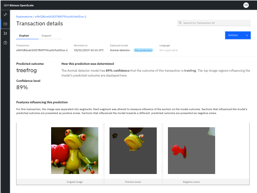 Explainability image classification confidence detail displays with an image of a tree frog. Different parts of the picture are highlighted in separate frames. Each part shows the extent to which it did or did not help to determine that the image is a frog.