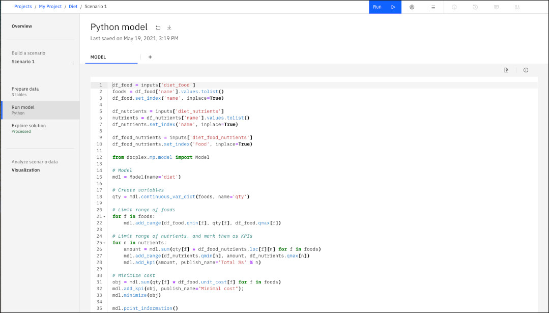 Python model for diet problem displayed in Run model view
