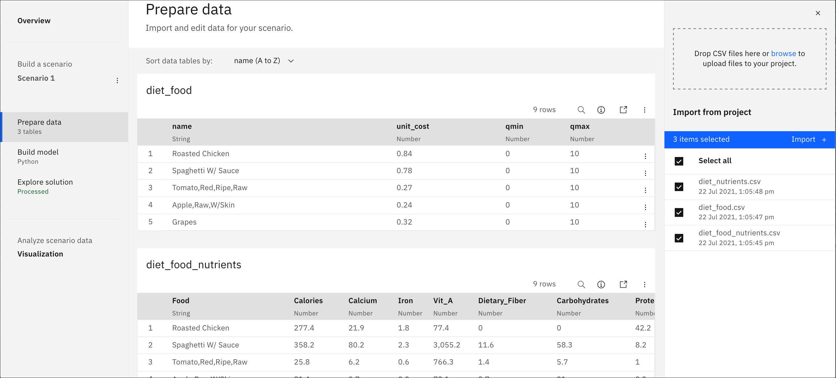 Tables of input data in Prepare data view