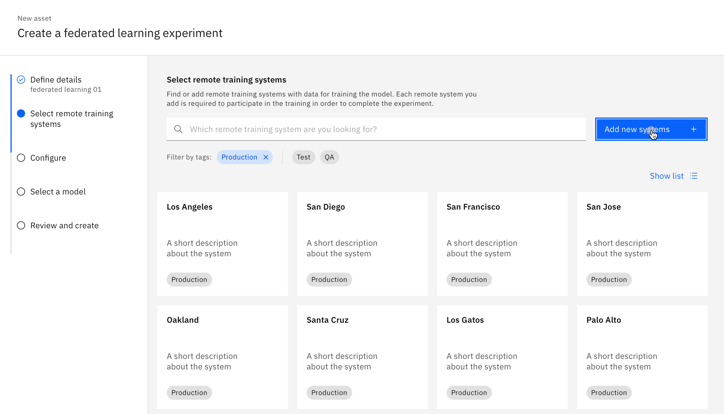 Screenshot of Remote Training System UI