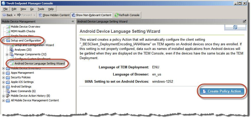 Android Device Language Settings (IANA)