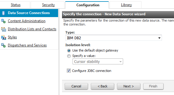 Connecting Cognos to a Db2 database