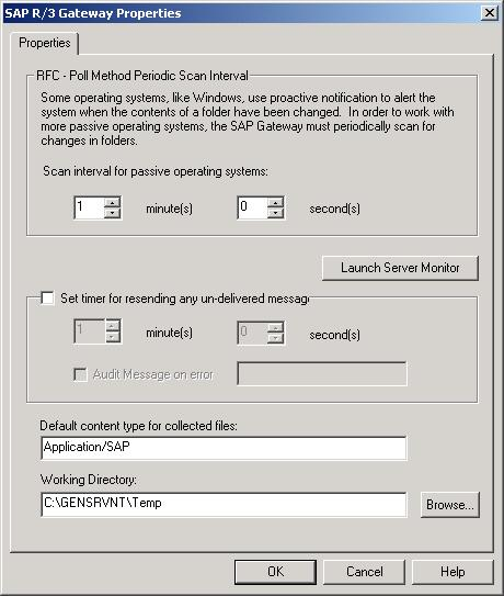 SAP Gateway Properties Dialog Box