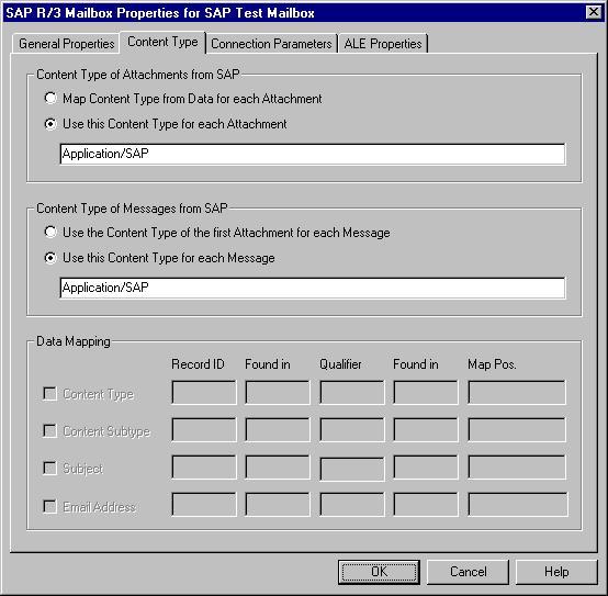SAP Gateway Mailbox Properties Content Type Tab - Sap data mapping