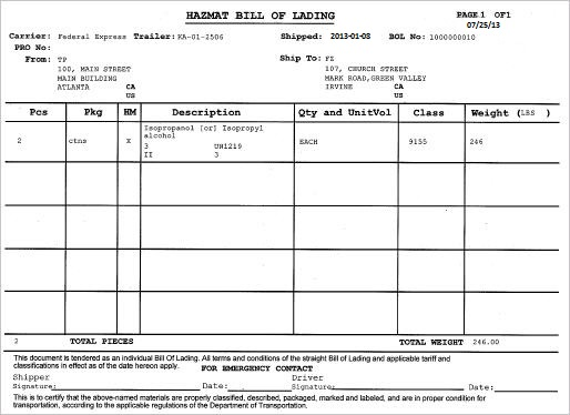 hazmat bill of lading