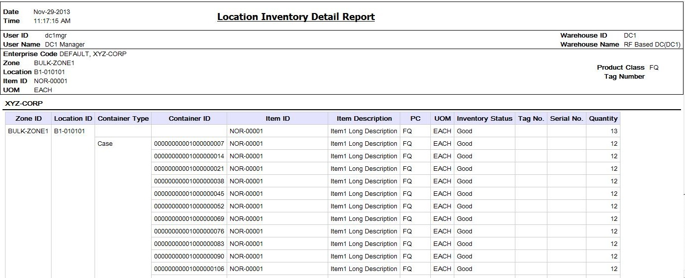 location inventory detail report layout