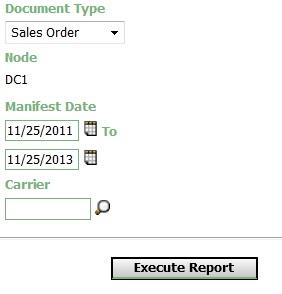 Parcel Manifest Report Criteria
