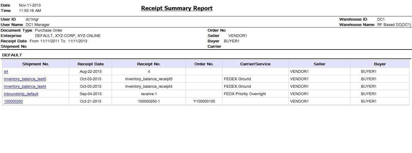 receipt summary report layout