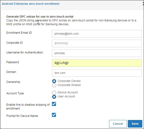 Creating a device owner (DO) enrollment configuration in the MaaS360