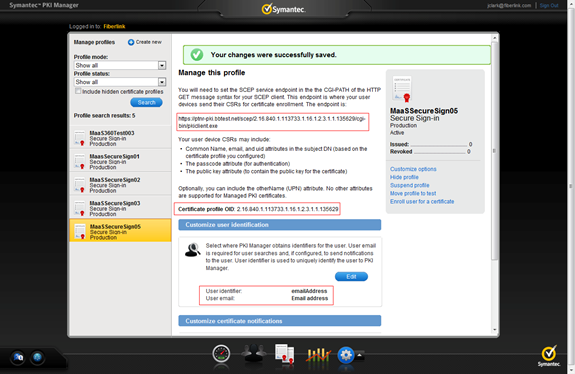 Creating a certificate profile on the Symantec PKI Manager