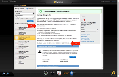 Viewing the details of a Symantec PKI certificate profile