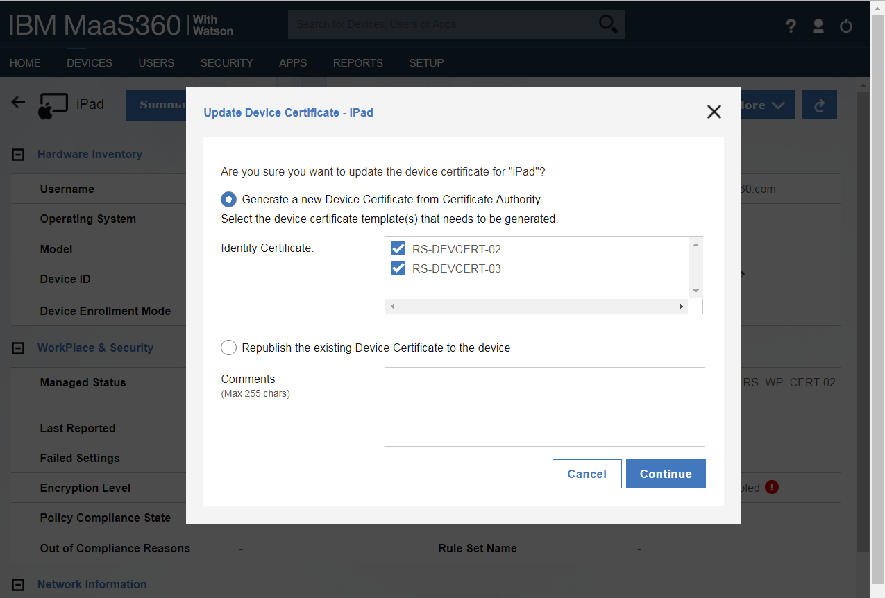 Using The Update Device Certificate Action