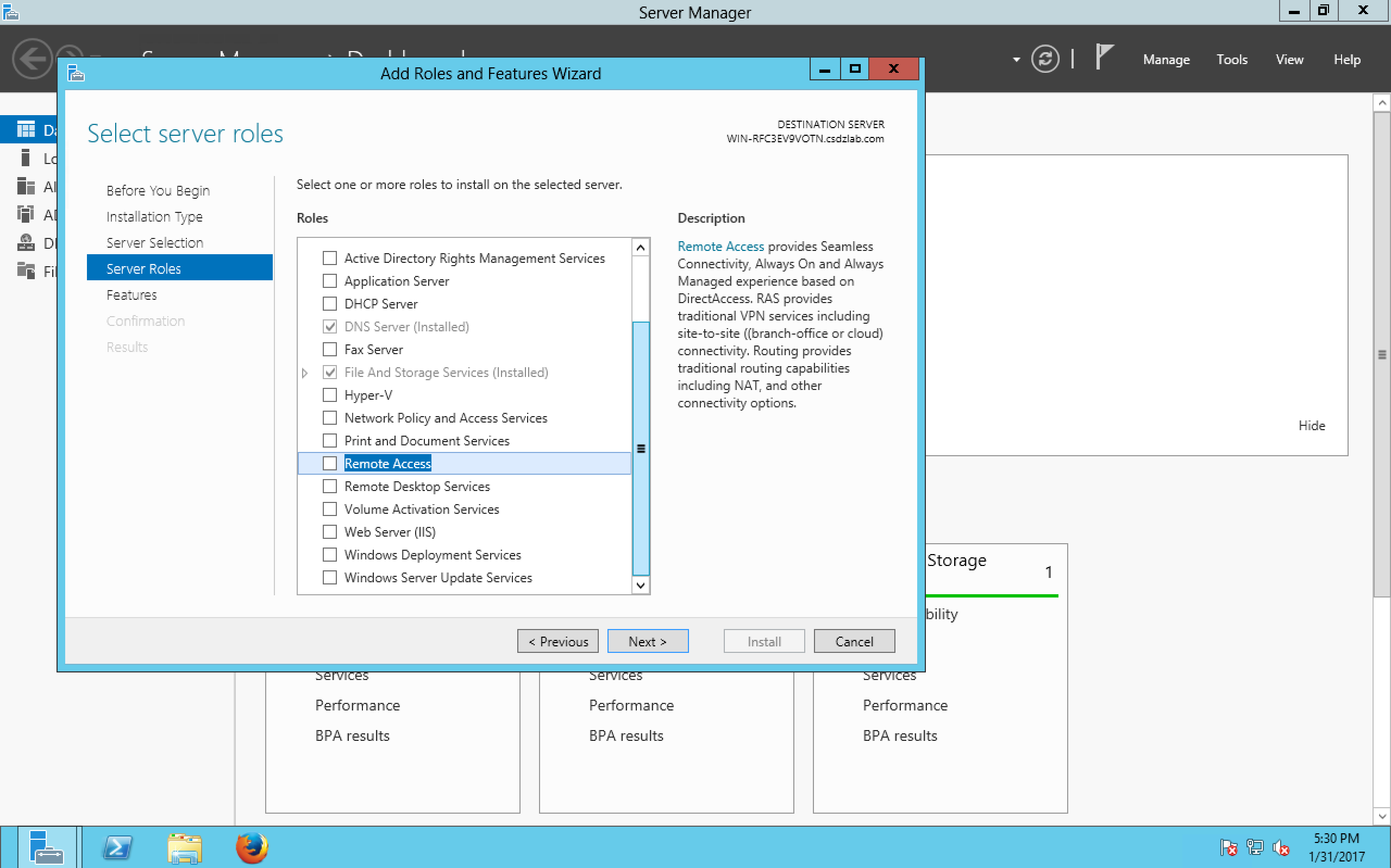 Installing the routing and remote access role on Windows Server 2012 R2