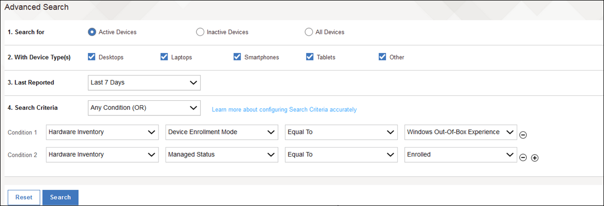 Searching for specific devices in the MaaS360 Portal