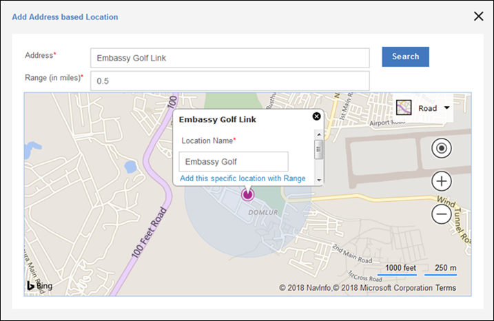 Managing secure locations for a device on