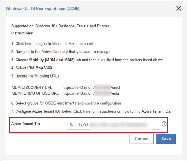 Setting up Windows OOBE in the MaaS360 Portal and Microsoft