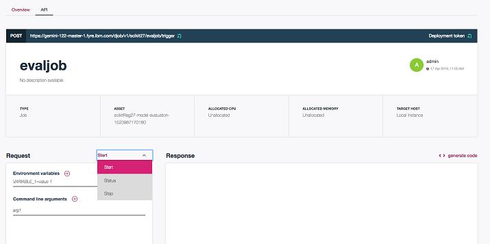 Deployed job API