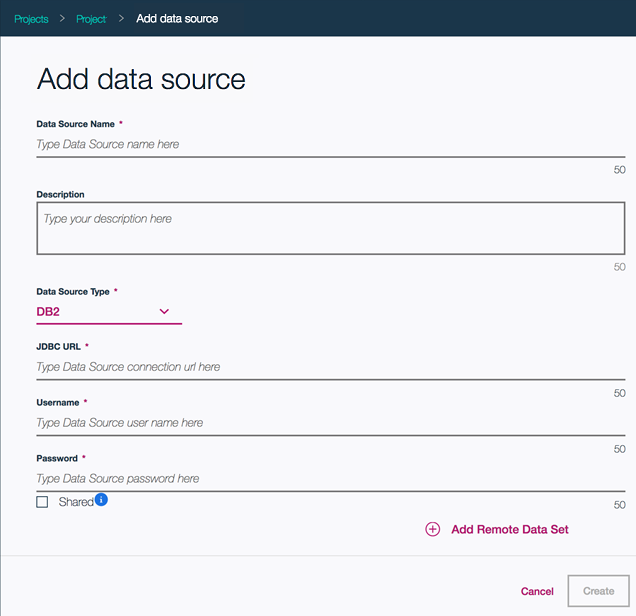 Shows the Create Data Source panel