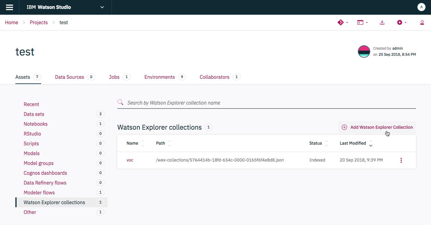 Create a Watson Explorer collection   IBM Watson Studio Local