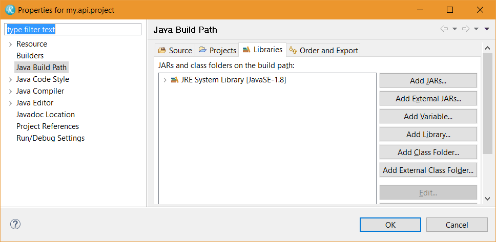 Configure a Java project to build and run with the Rhapsody API