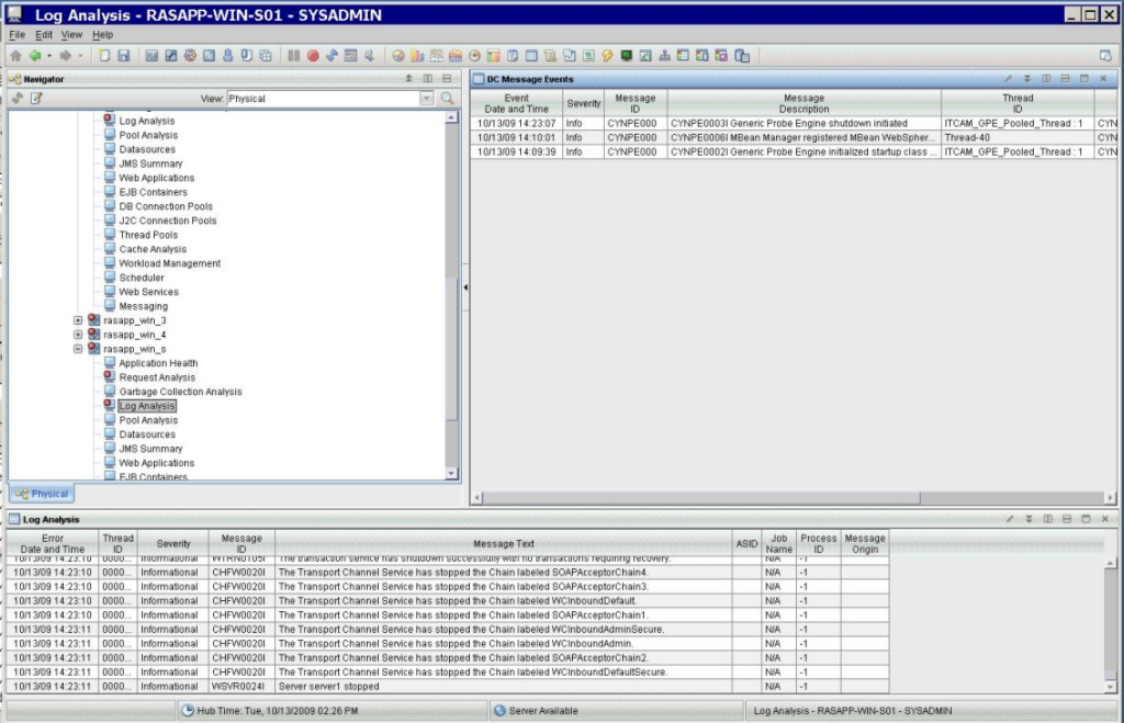 Log Analysis workspace with the Process ID value displayed as -1.